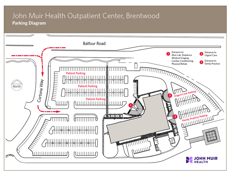 PDF map for John Muir Health Outpatient Center, Brentwood – Parking Diagram
