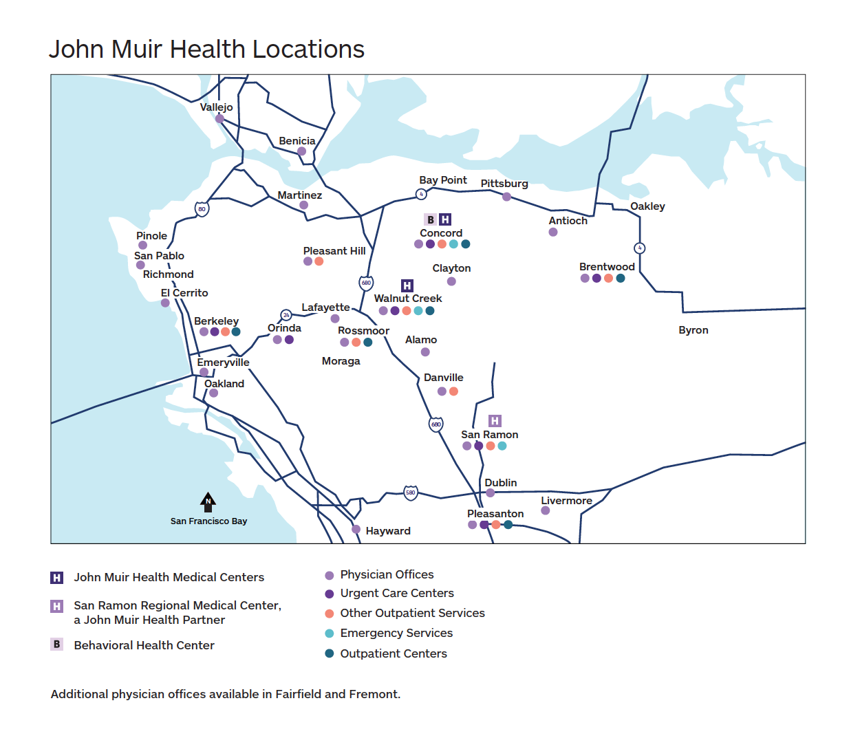 map of John Muir Health locations
